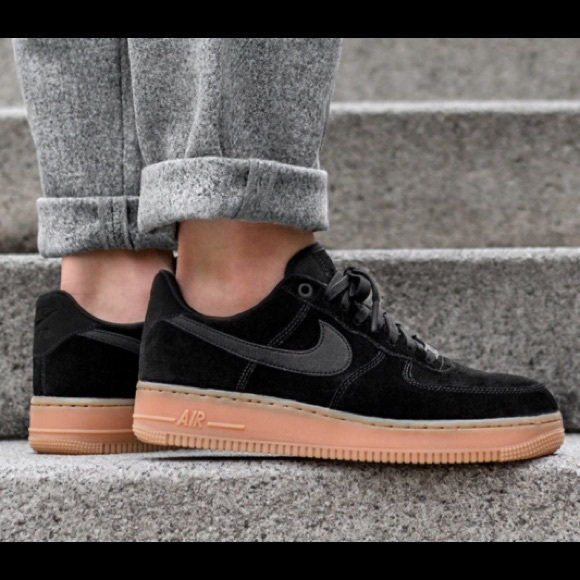Nike Air Force 1 Black Suede Gum Rubber Sole